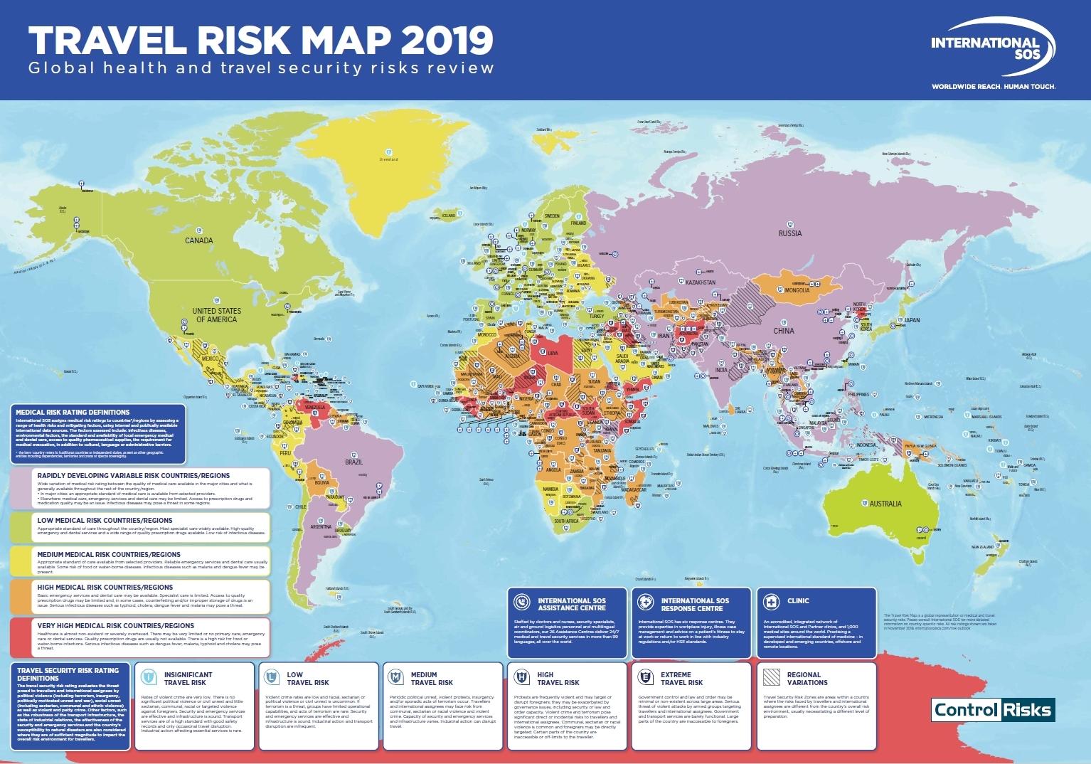 Weltkarten zur Sicherheitslage - reiseversicherung.com