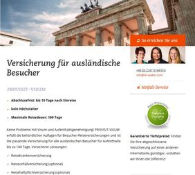 Screenshot von www.provisit-visum.de